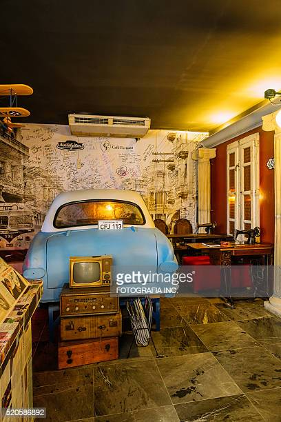 cafe interior in havana - painting art product stock pictures, royalty-free photos & images