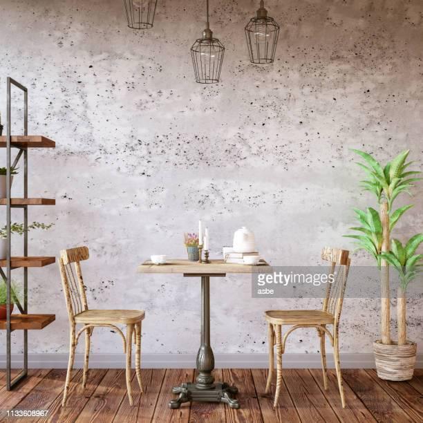 コンクリートの壁とカフェインテリア - 椅子 無人 ストックフォトと画像