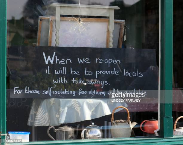 A cafe is closed in line with government orders to arrest the spread of the novel coronavirus in the village of Eyam in Derbyshire northern England...
