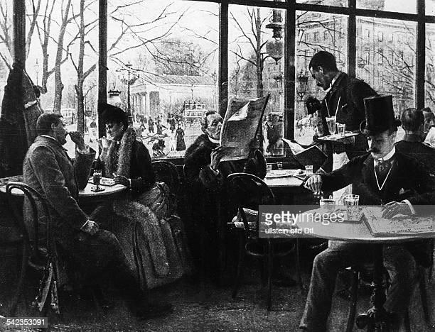 Cafe Josty am Potsdamer Platz Berlin 1890Gemälde von P Höniger