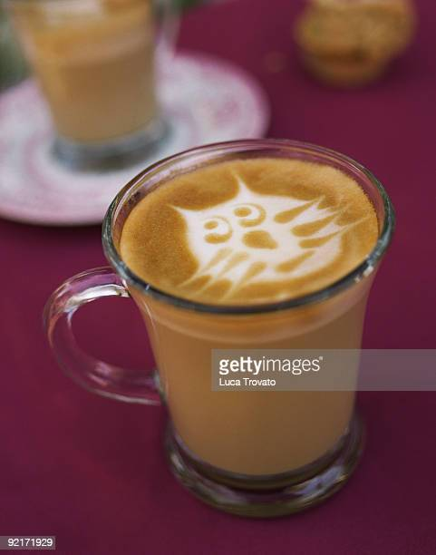 Cafe latte with cat face in foam