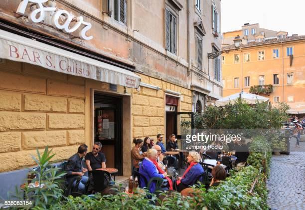 Cafe Life in Trastevere neighborhood Rome Italy