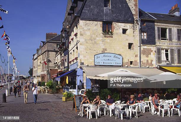 cafe, old port, honfleur, calvados, normandy, france - calvados stock pictures, royalty-free photos & images