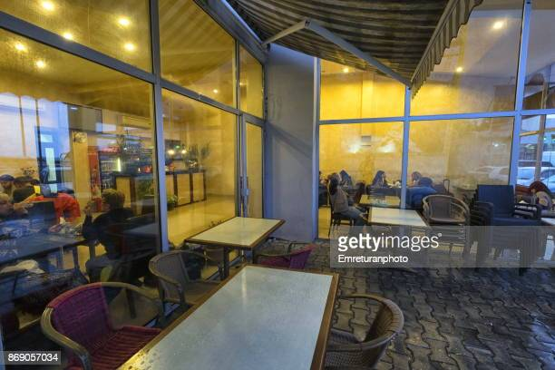 a cafe on the georgian side of sarp border crossing between turkey and georgia. - emreturanphoto stock pictures, royalty-free photos & images