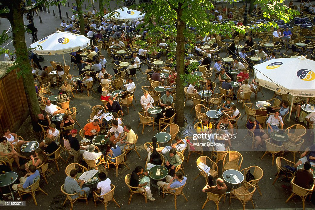 Cafe overview, Leidseplein, Amsterdam, Holland : Stock Photo