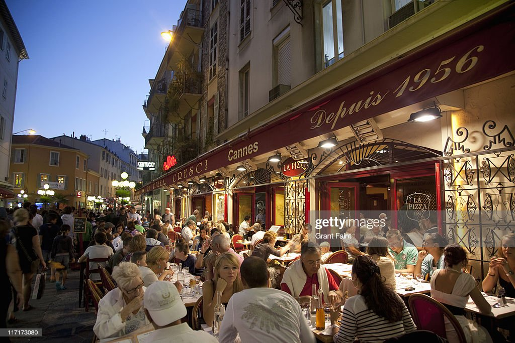 Cafe restaurant at evening. : Stock Photo