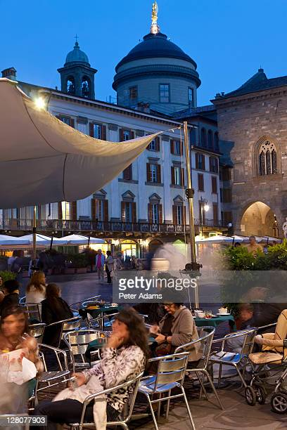 Cafe, restaurant, Old Square, Bergamo, Italy