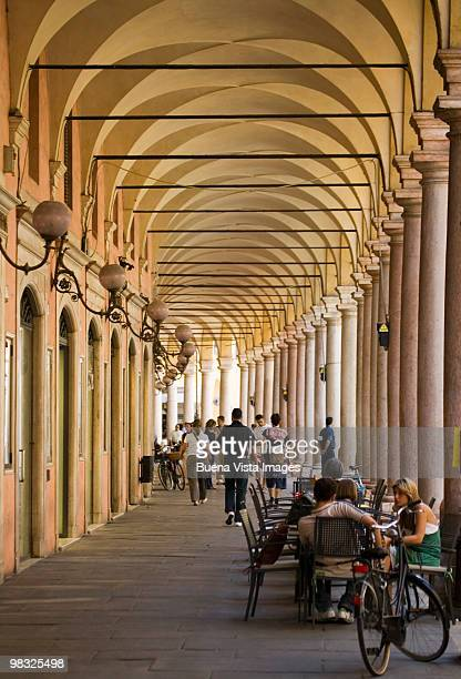 cafe scene in modena, italy - modena stock pictures, royalty-free photos & images