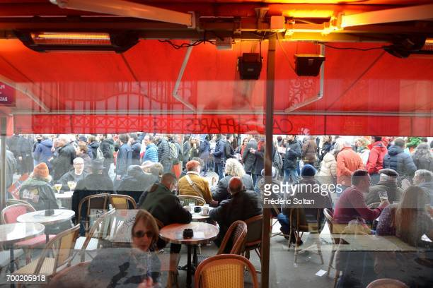 Cafe terrace at Place de la Bastille in Paris on June 16 2017 in Paris France