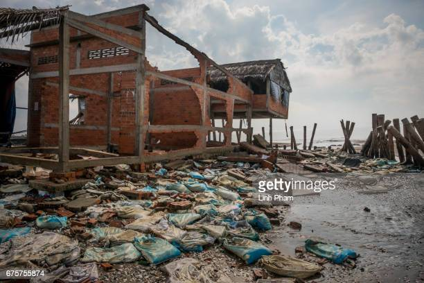 A cafe was destroyed bt the high tides near the seafront on around February 2017 photographed on April 29 2017 in Bao Thuan Village Ba Tri District...