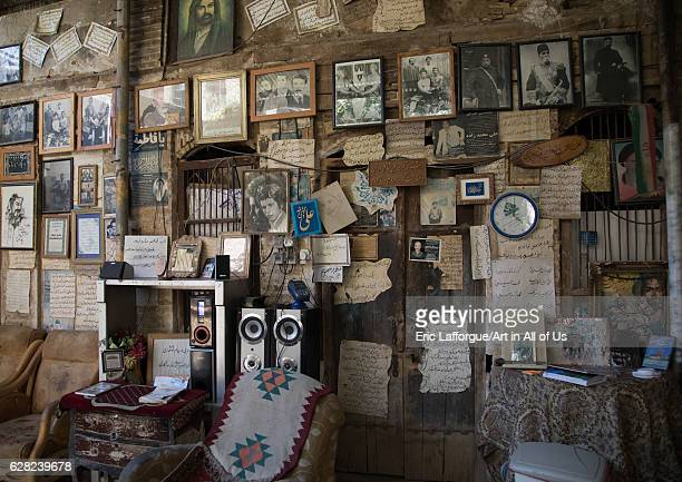 Cafe with the wall decorated with poems and old pictures Fars Province Shiraz Iran on October 16 2016 in Shiraz Iran