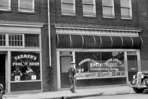 Cafe with Two Entrances Marked White and Colored Durham North Carolina USA Jack Delano Office of War Information May 1940