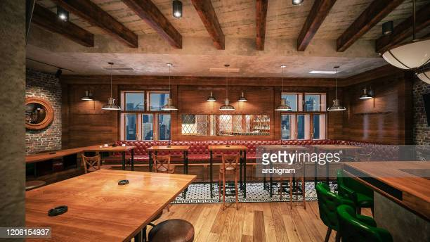 cafe/restaurant/pub. interior design. computer generated image. architectural visualization. 3d rendering. - pizzeria stock pictures, royalty-free photos & images