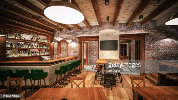 cafe/restaurant/pub. interior design. computer generated image. architectural visualization. 3d rendering. - pub stock pictures, royalty-free photos & images