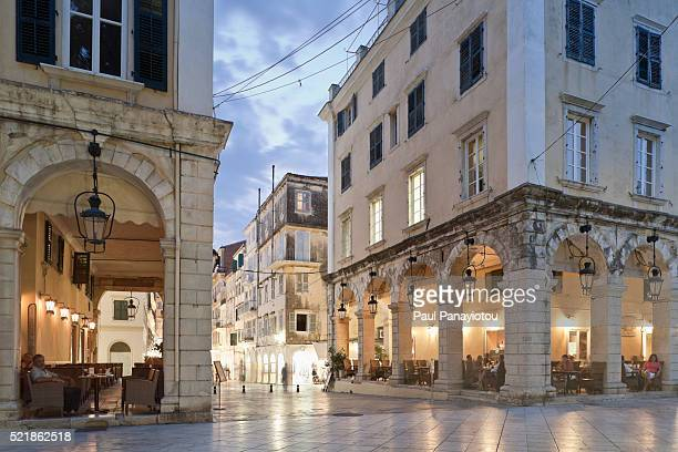 Cafes and Venetian architecture on the Liston in Corfu Town