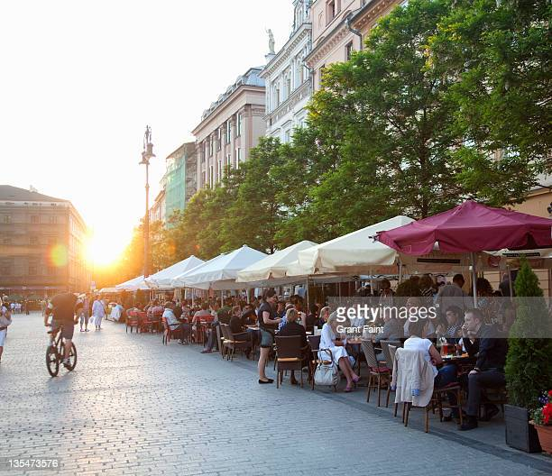 Cafes at sunset.
