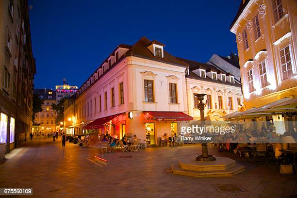 Cafes in Old Town at dusk, Bratislava, Slovakia