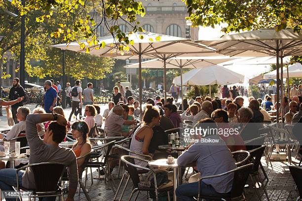 cafes on the alameda de boulevard. - san sebastian spain stock pictures, royalty-free photos & images