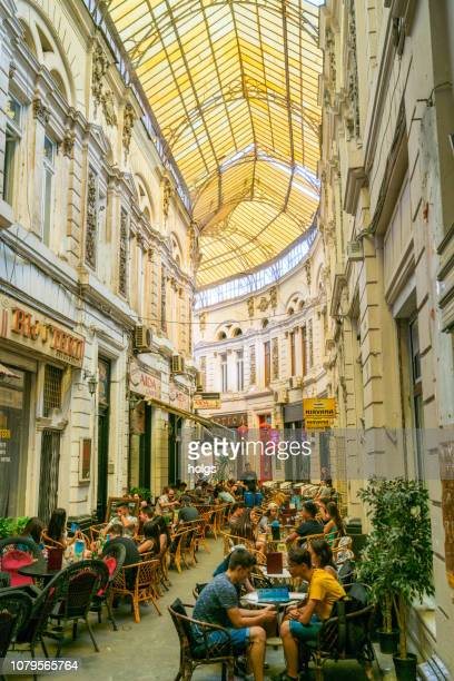 Cafes within the Pasajul Macca- Vilacrosse Arcade in Bucharest, Romania, Europe