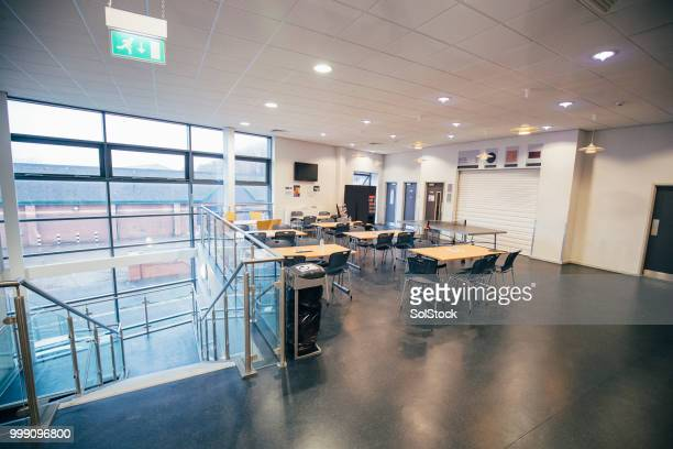 cafeteria in an engineering academy - canteen stock pictures, royalty-free photos & images