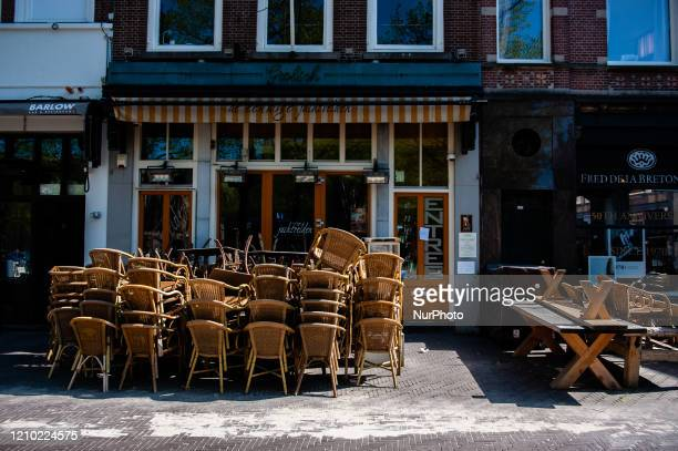 A cafeteria is closed in The Hague because of the Corona virus situation in The Hague Netherlands on April 17th 2020