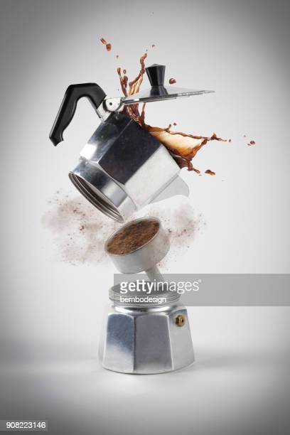 caffè moka explosion - ground coffee stock photos and pictures