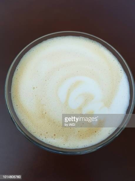 Caffe latte seen from above
