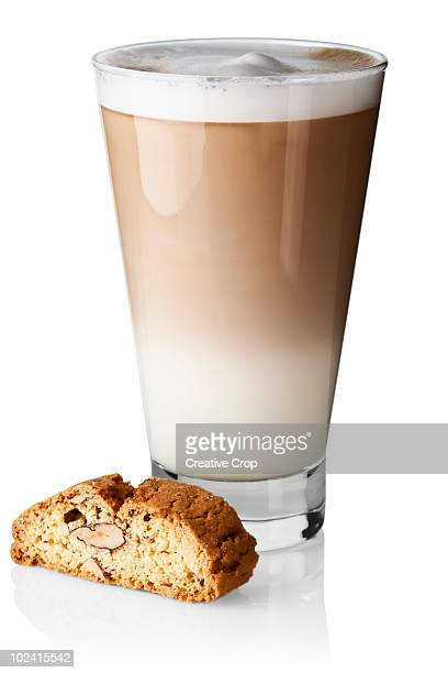 Caffe latte with biscotti