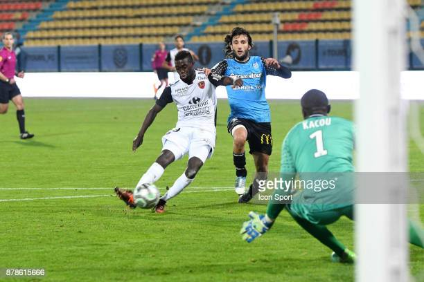 Cafimipon David Gomis of Gazelec scores during the Ligue 2 match between Tours and Gazelec Ajaccio at on November 24 2017 in Tours France