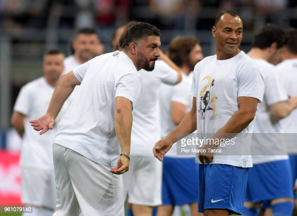 Cafu and Rino Gattuso gestures during Andrea Pirlo Farewell Match at Stadio Giuseppe Meazza on May 21 2018 in Milan Italy