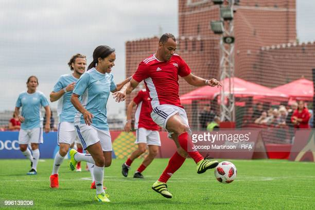 Cafu controls the ball during the Legends Football Match in Red Square on July 11 2018 in Moscow Russia