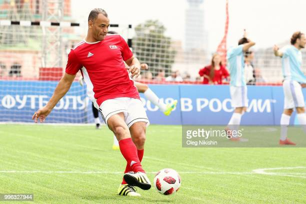 Cafu controls the ball during the Legends Football Match in 'The park of Soccer and rest' at Red Square on July 11 2018 in Moscow Russia