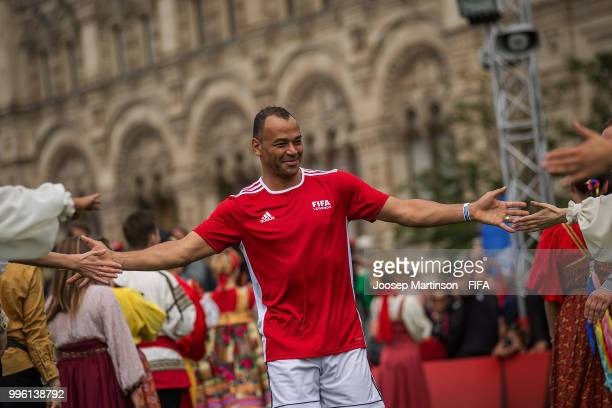 Cafu is being greeted during the Legends Football Match in Red Square on July 11 2018 in Moscow Russia