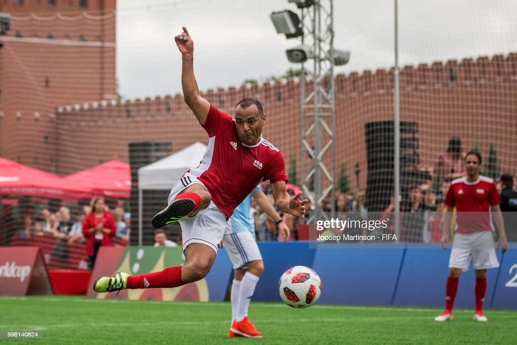 Cafu kicks the ball during the Legends Football Match in Red Square on July 11, 2018 in Moscow, Russia.