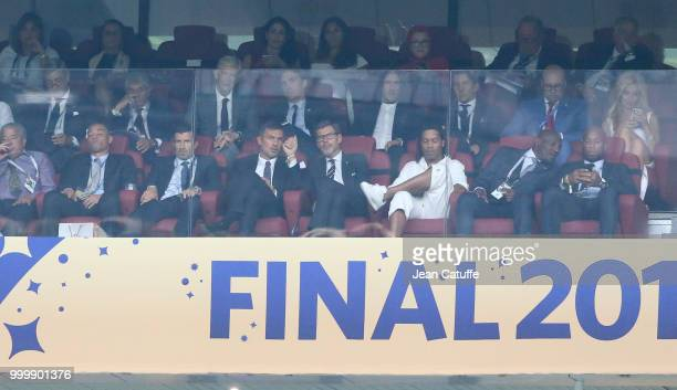 Cafu Luis Figo Paolo Maldini Ronaldinho Didier Drogba above Arsene Wenger Carles Puyol during the 2018 FIFA World Cup Russia Final match between...