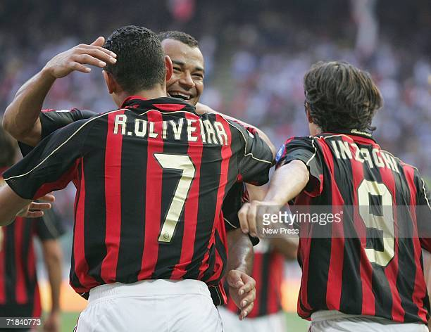 Cafu of Milan celebrates a goal with Filippo Inzaghi and Ricardo Oliveira during the Serie A match between AC Milan and Lazio held at Stadio Guiseppe...