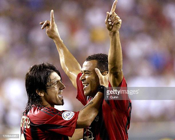 Cafu of Milan celebrates his goal with Gennaro Gattuso during Champions World Series game between AC Milan and Chelsea at Lincoln Financial Field...