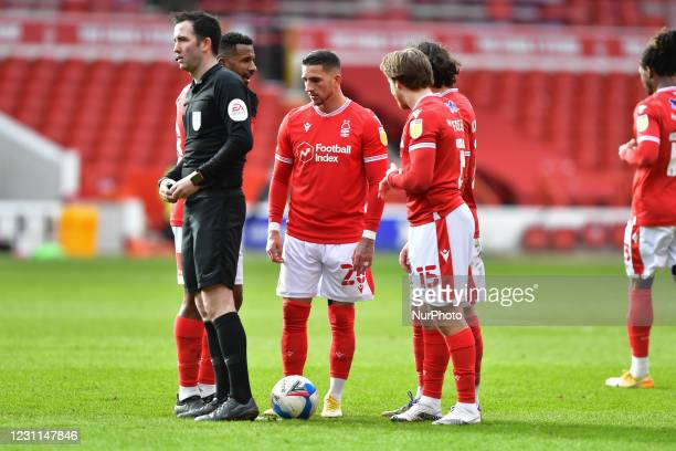 Cafu of Nottingham Forest and Anthony Knockaert of Nottingham Forest discuss tactics ahead of a Forest free-kick during the Sky Bet Championship...