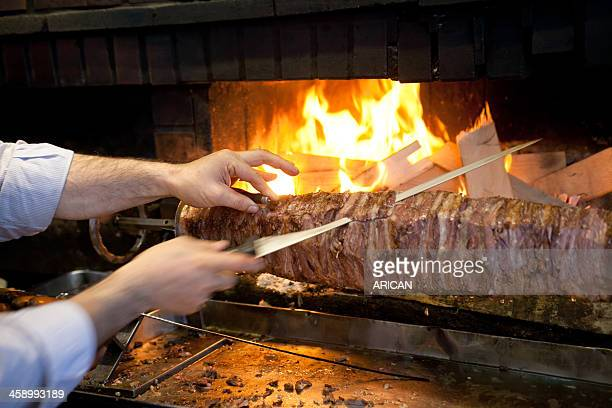 cag kebab in istanbul - doner kebab stock photos and pictures