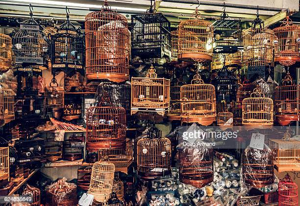 Cages on sale at Yuen Po St Bird Garden, Hong Kong