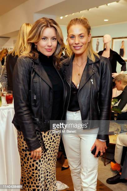 Caggie Dunlop and Frankie Gaff attend the launch of the new Intimissimi SILK collection at their flagship store on Oxford Street on April 04 2019 in...