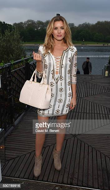 Caggie Dunlop attends the launch of 'The Explorer Collection' by Taylor Morris Eyewear at The Serpentine Lido Terrace Hyde Park on May 11 2016 in...