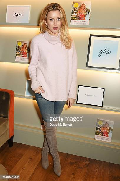 Caggie Dunlop attends the Madeleine Shaw Glow Guides app launch at Brown's Hotel in partnership with Origins Skincare on January 8 2016 in London...