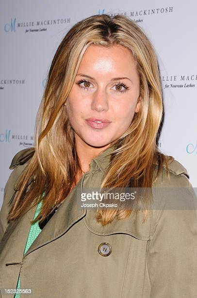 Caggie Dunlop from the cast of Made in Chelsea attends the launch of Millie Mackintosh's Nouveau lashes at Sanctum Soho on September 18 2012 in...