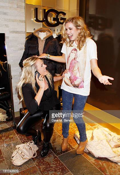 Caggie Dunlop from the TV series 'Made In Chelsea' and Hattie Clark fool around while attending the launch of UGG Australia's new Knightsbridge...