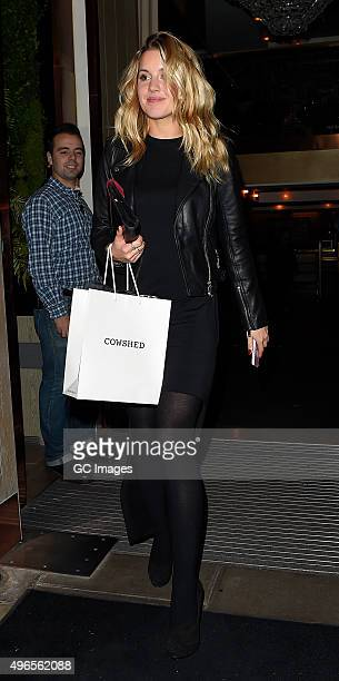 Caggie Dunlop leaves Millie Mackintosh's Fashion Preview and VIP Launch Dinner on November 10 2015 in London England