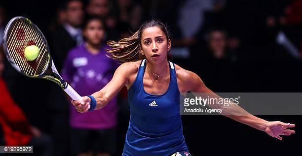 Cagla Buyukakcay of Turkey is in action against Eugenie Bouchard of Canada during their show match within BNP Paribas Tennis Star Series at Ankara...