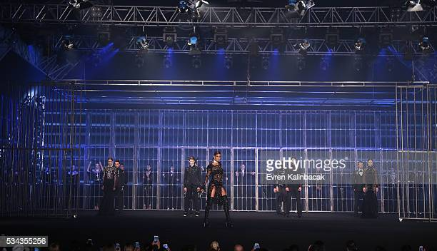 Cagla Sikel walks the runway during the Hakan Akkaya Fall/Winter 16/17 fashion show at Maslak Arena on May 25 2016 in Istanbul Turkey