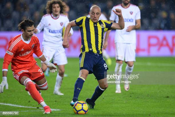 Caglar Sahin Akbaba of Karabukspor Aatif Chahechouhe of Fenerbahce during the Turkish Super lig match between Fenerbahce v Karabukspor at the Sukru...