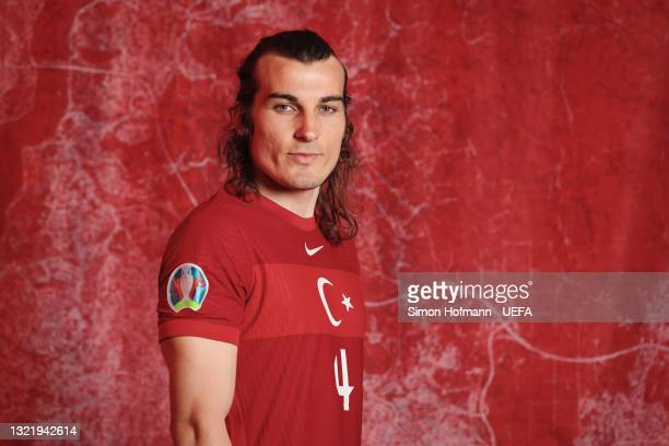 Caglar Saoyuncu of Turkey poses during the official UEFA Euro 2020 media access day on June 04, 2021 in Harsewinkel, Germany.